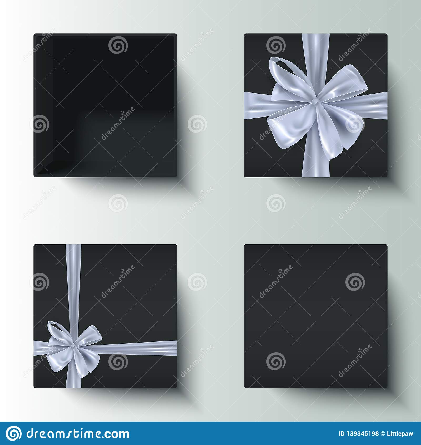 Black Gift Boxes Set Of Realistic Black Gift Boxes With Decorative Silver Bow Open