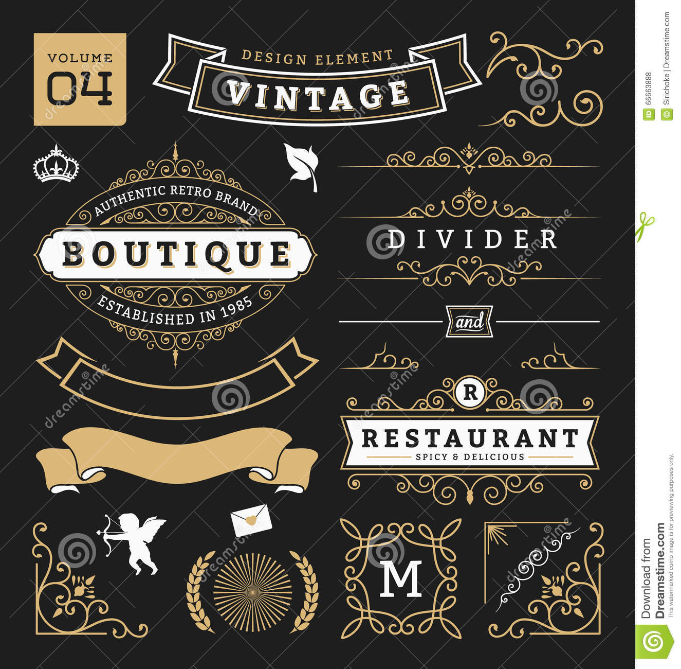Vintage Design Set Of Retro Vintage Graphic Design Elements Stock Vector