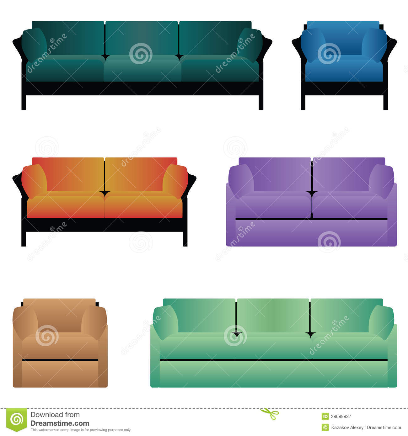 Sofa Set Vector Free Download Set Of Sofas Stock Vector Illustration Of Green Indoors 28089837