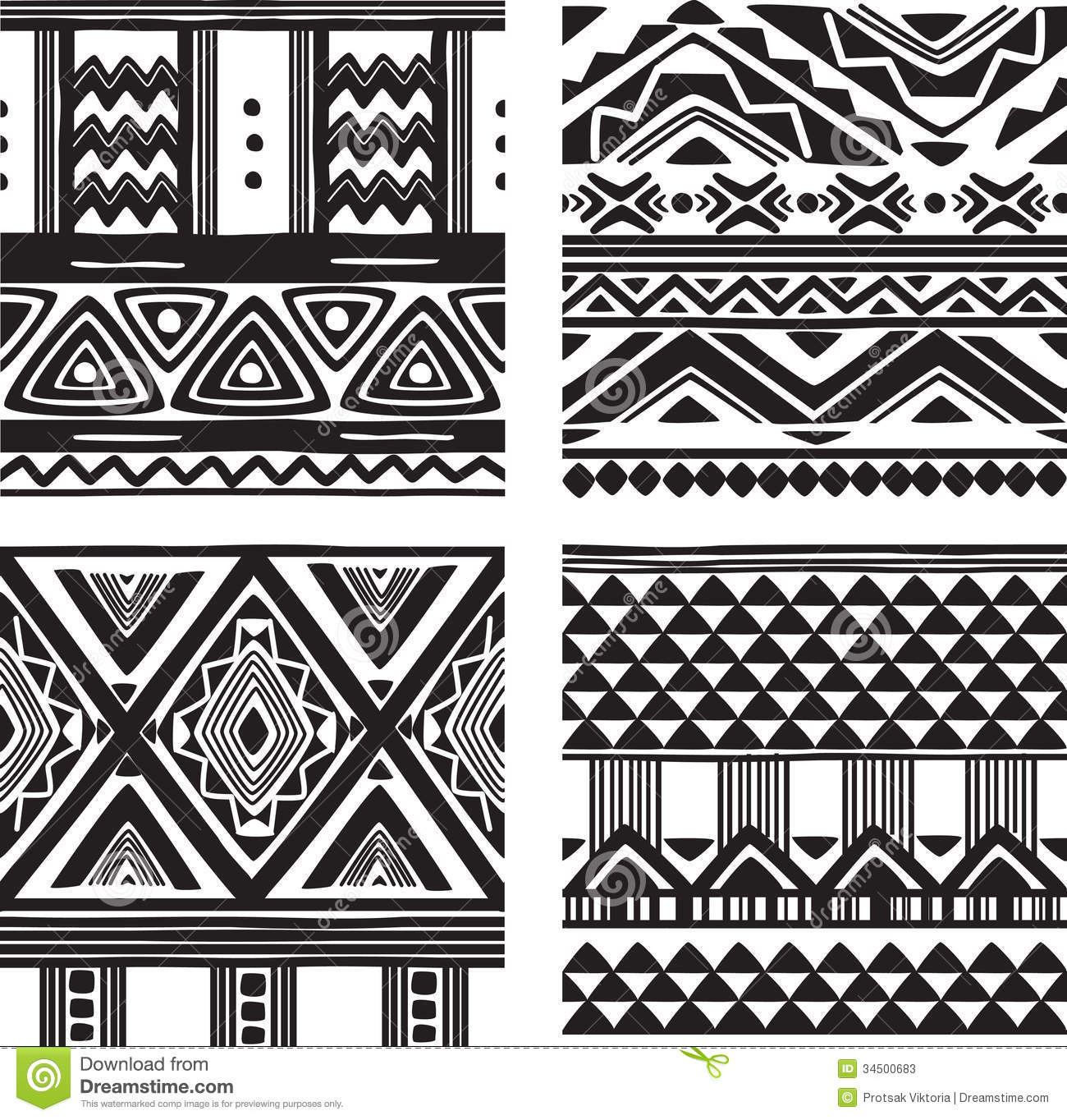 Cute Tribal Patterns Wallpaper Set Of Tribal Texture Stock Photos Image 34500683