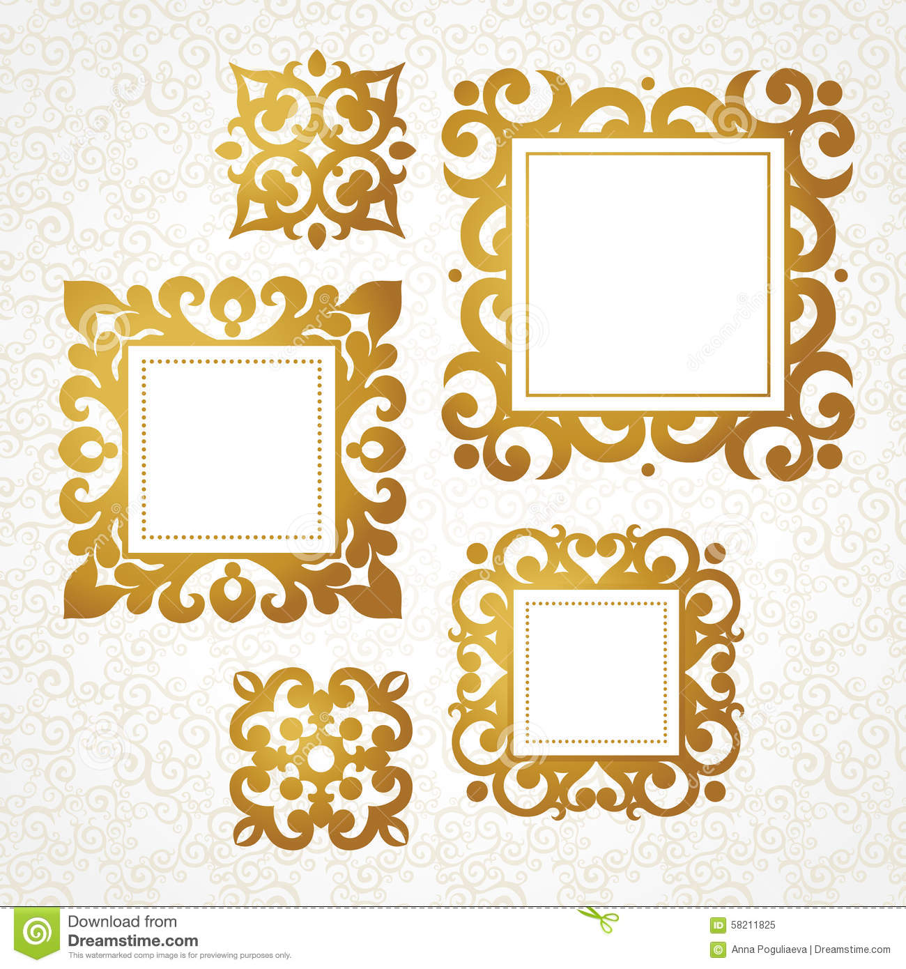 Marcos Decorativos Set Of Vector Decorative Frames In Victorian Style Stock