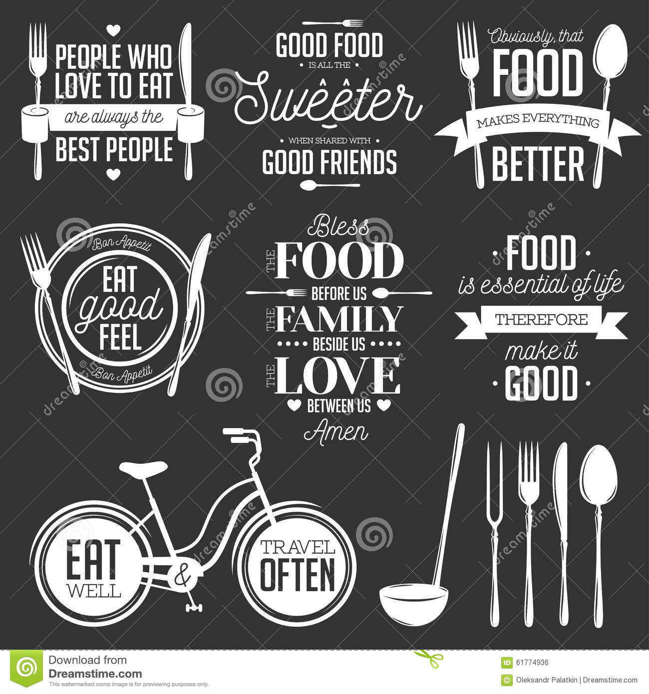 Free Kitchen Design Quotes Set Of Vintage Food Related Typographic Quotes Stock