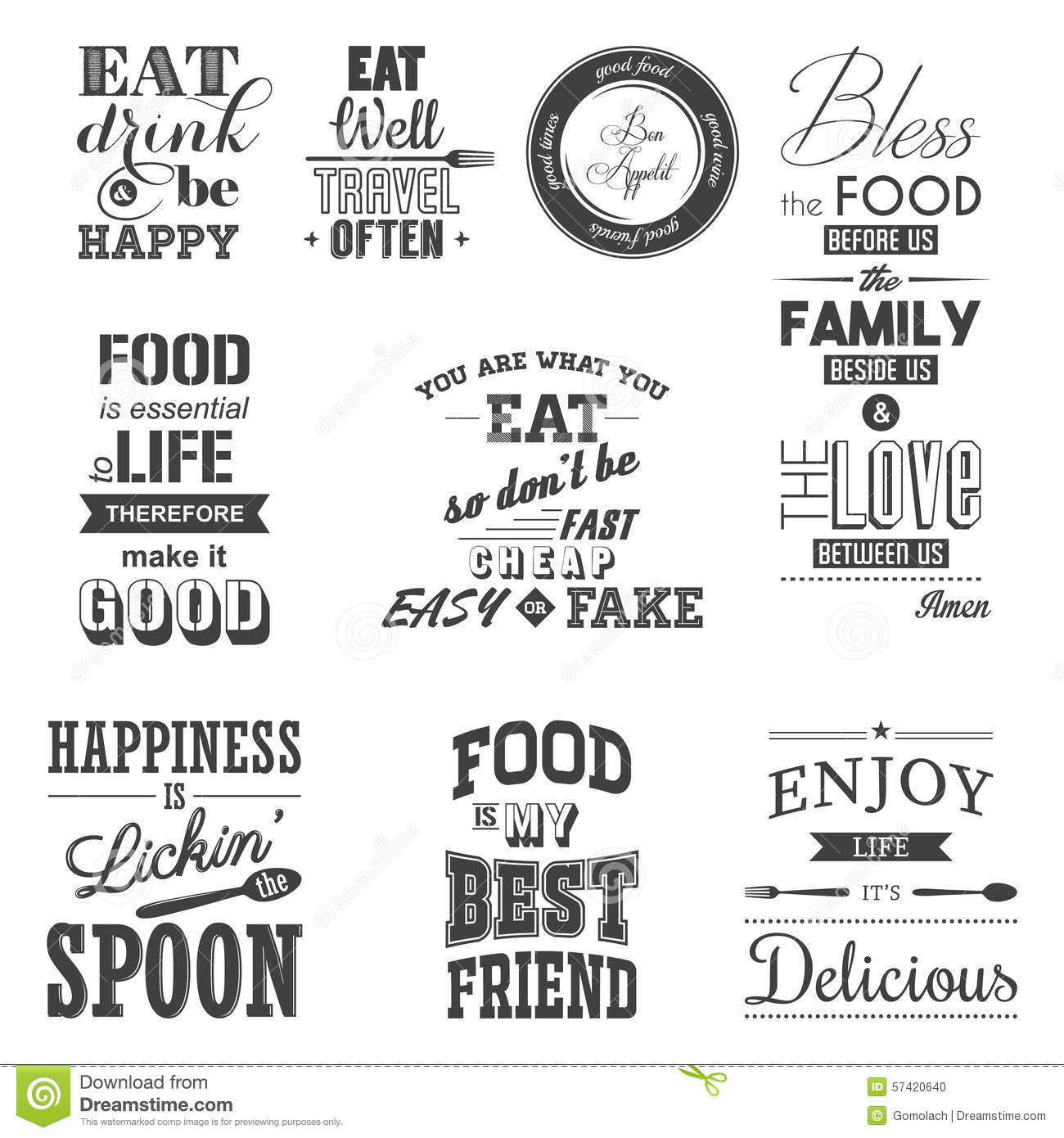 Cuisine Definition And Sentence Set Of Vintage Food Typographic Quotes Stock Vector