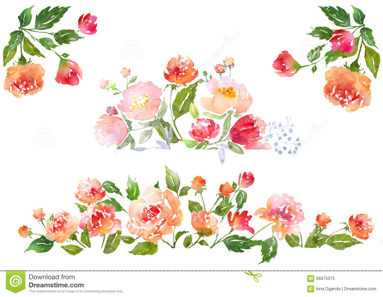 Orange Fall Peonies Wallpaper Set Of Watercolor Floral Composition Stock Illustration