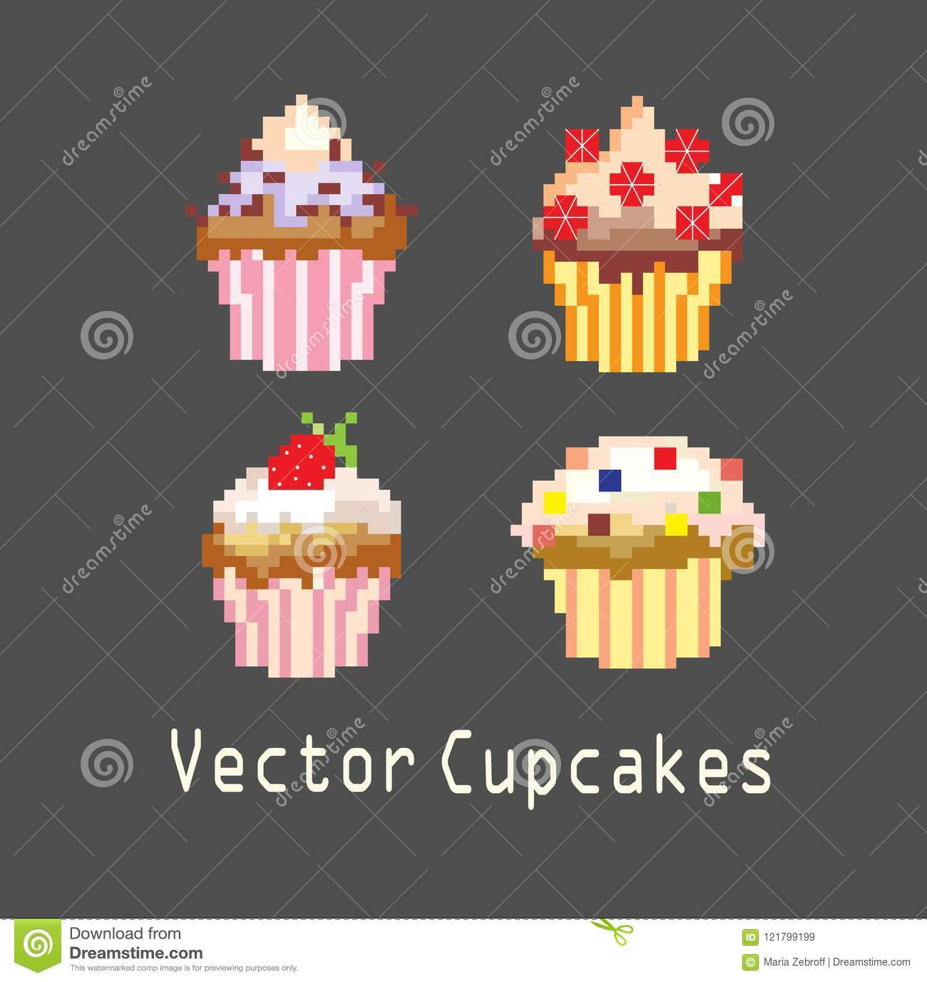 Décoration De Cupcake Sets Of Cupcakes For Decoration Stock Vector Illustration Of