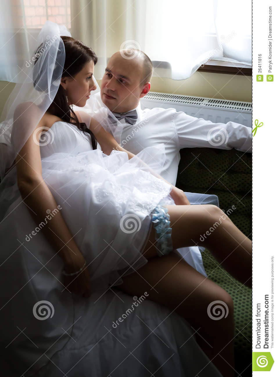 Sofa U Bride With Groom On The Sofa Stock Photo - Image Of Male
