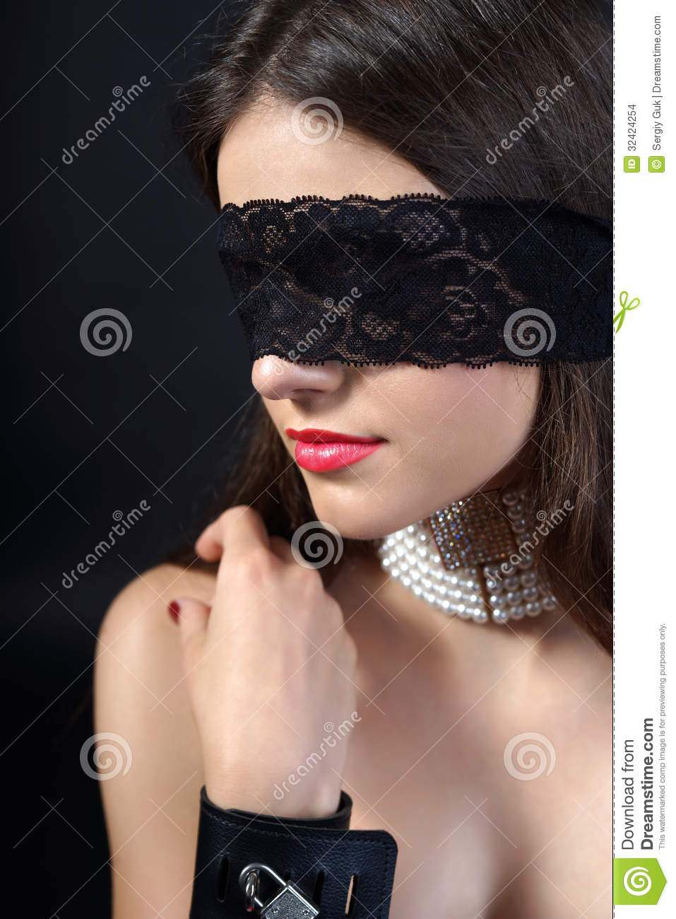Dark Red Hair And Brown Eyes Girl Blindfolded Stock Photo Image Of Beautiful Beads