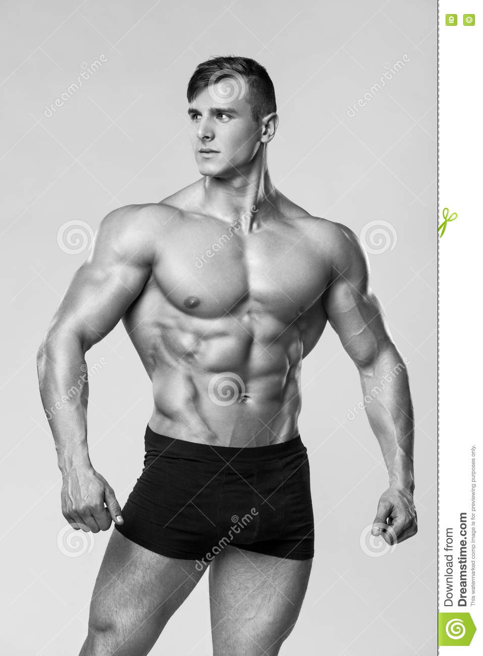 Download Foto Model Muscular Man Fitness Model In Underwear Strong Male Naked Torso