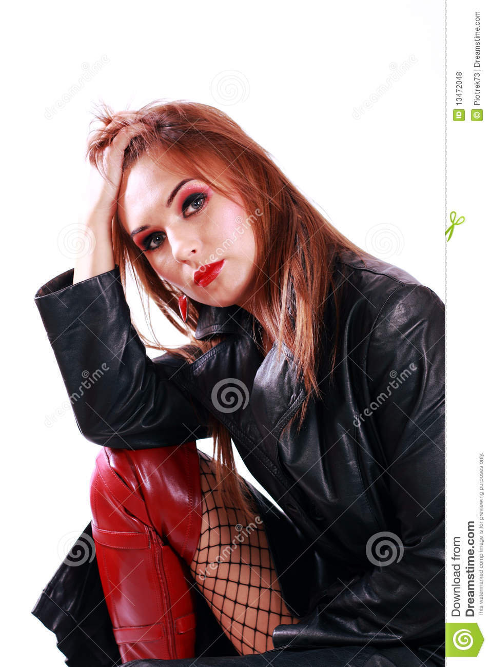 Beautiful Girl Lips Wallpaper Woman In Leather Jacket Royalty Free Stock Photos Image