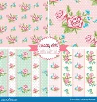 Shabby Chic Rose Patterns. Set Seamless Pattern. Vintage ...