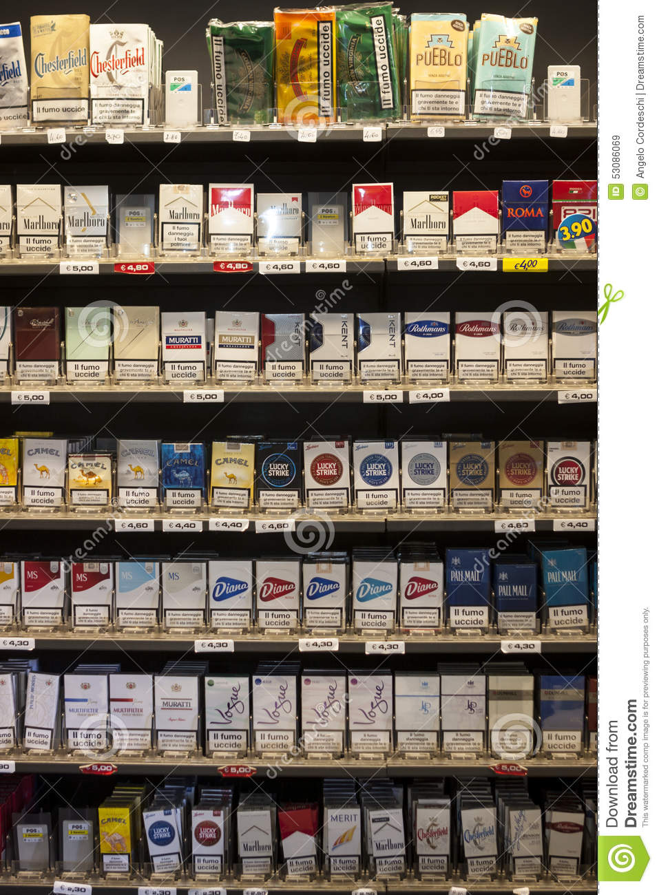 Shelving Shop Shelving Cigarettes Packs Shelves In A Shop Editorial Stock Image