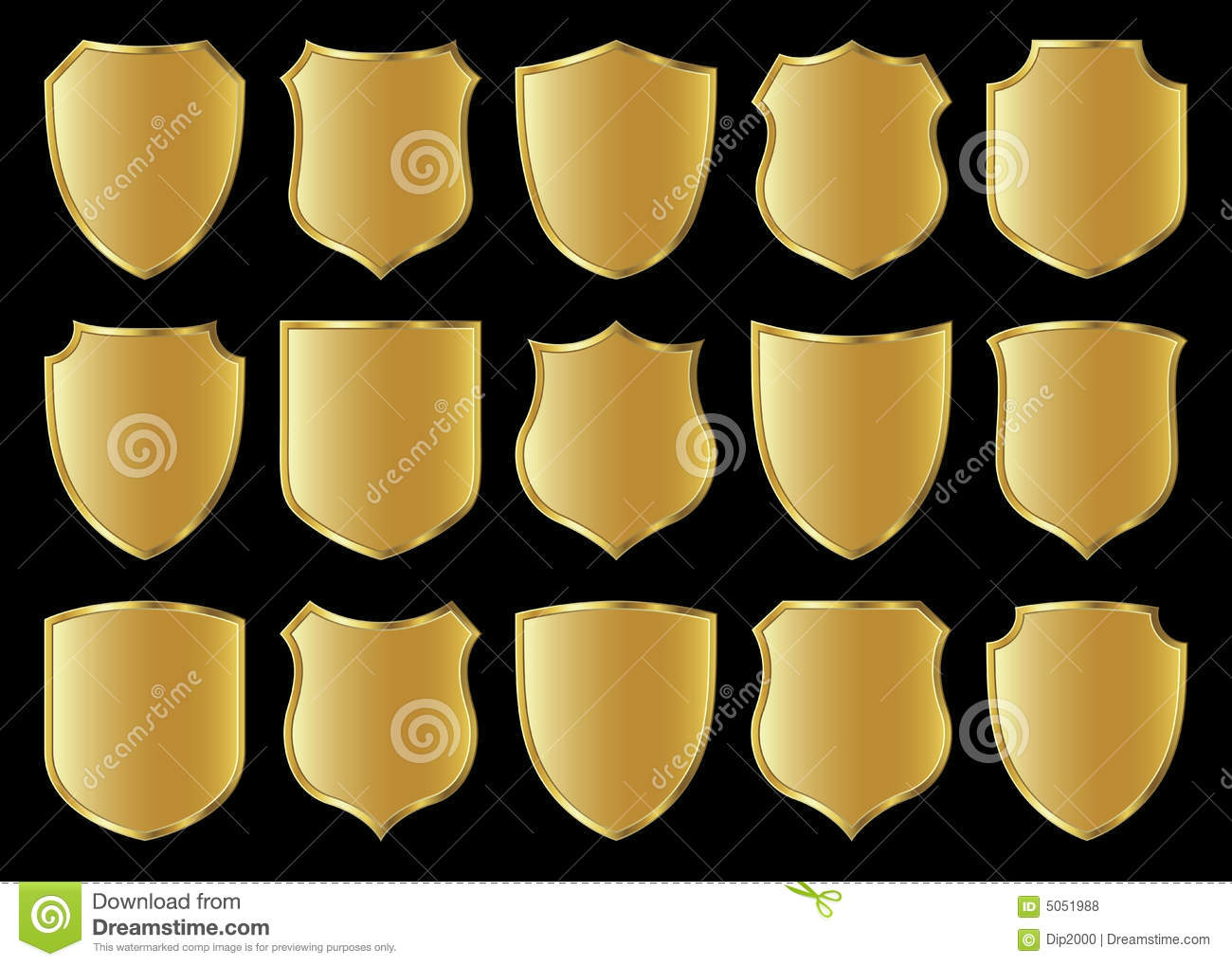 Royalty free stock photo design golden set shield