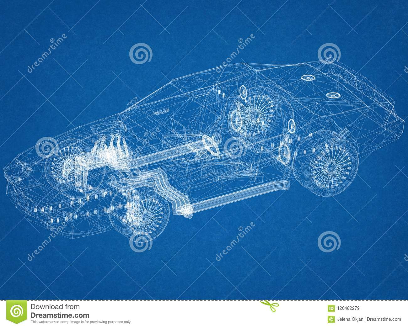 Jaguar Xj13 Blueprint Sport Car Architect Blueprint Stock Illustration Illustration Of