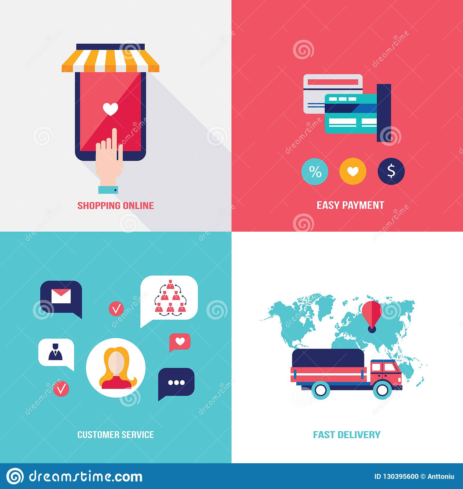 Design Shop Online Shop Online Set Of Flat Design Icons For Your Business Shopping