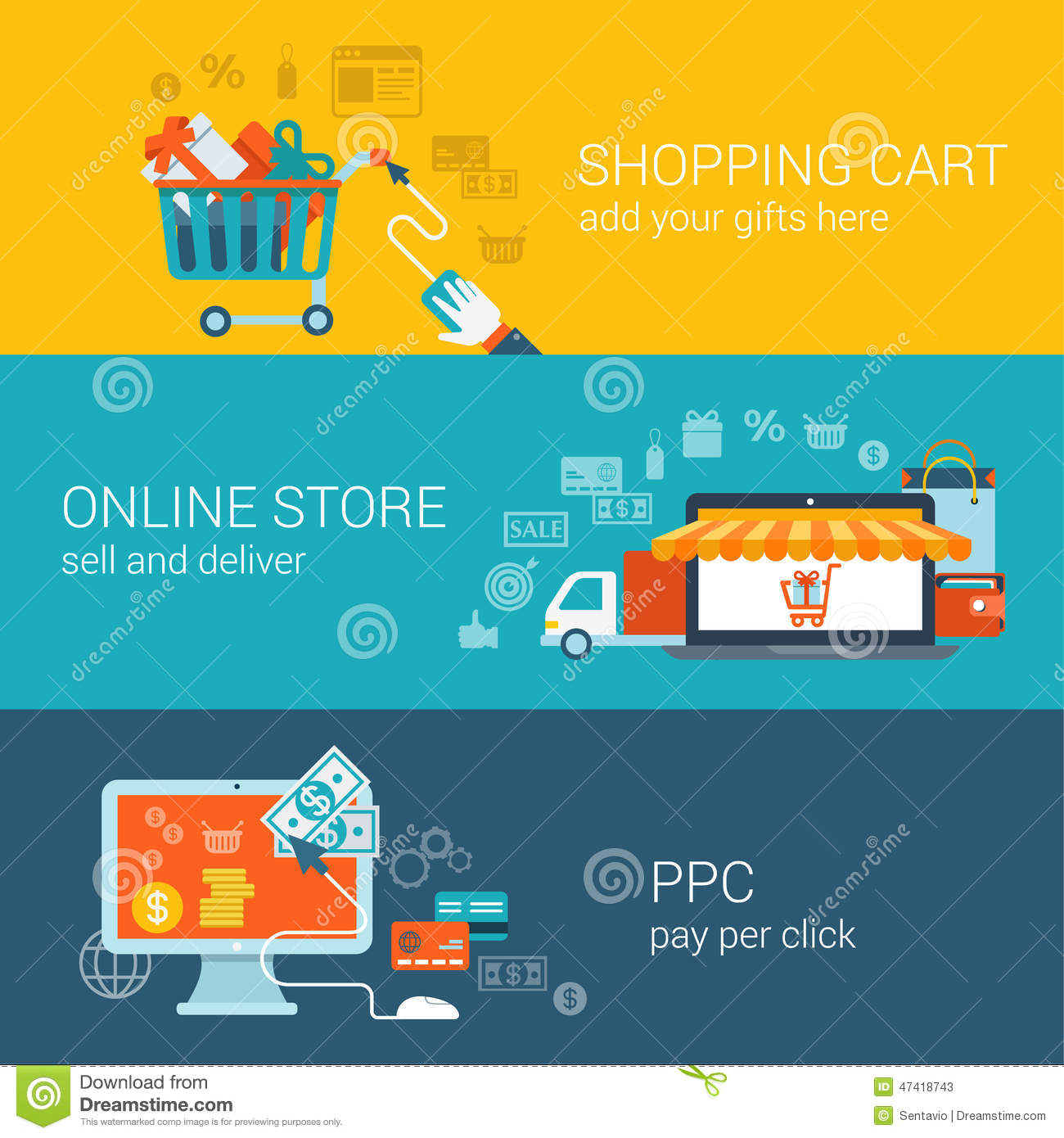 Store Banne Commerce Shopping Cart Online Store Pay Per Click Flat Style