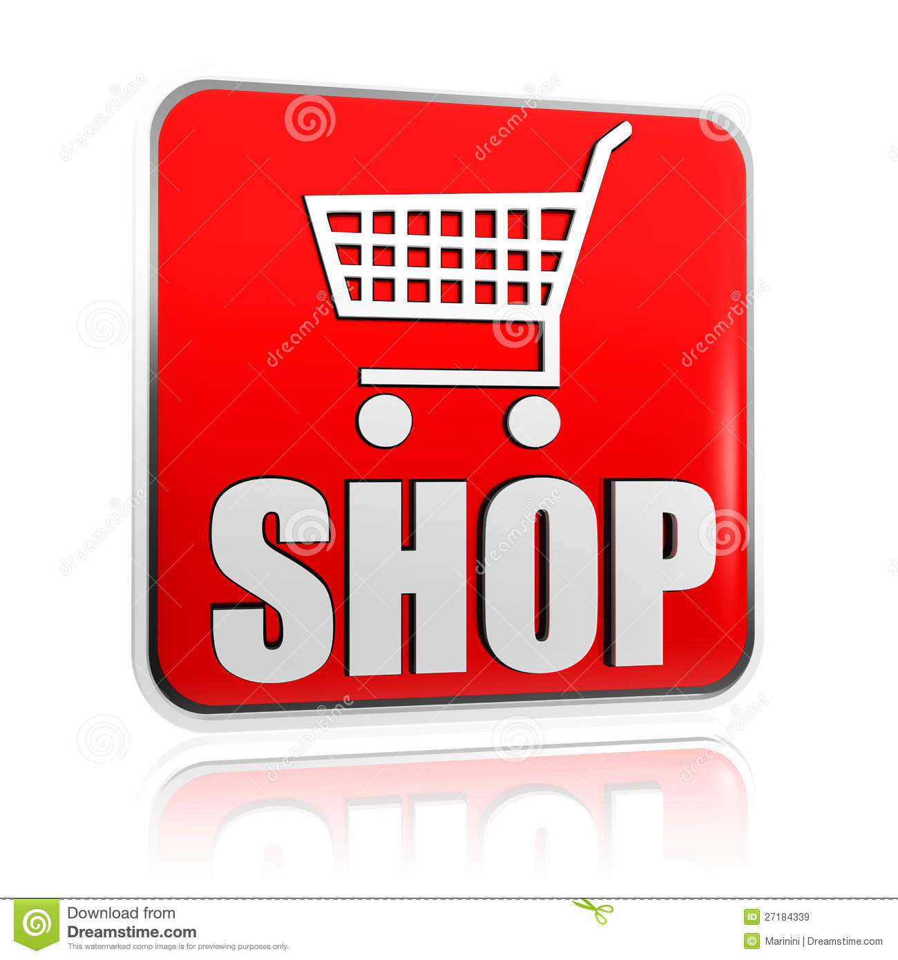 Store Banne 6 X 3.5 M Shopping Cart Sign With Word Shop Banner Stock