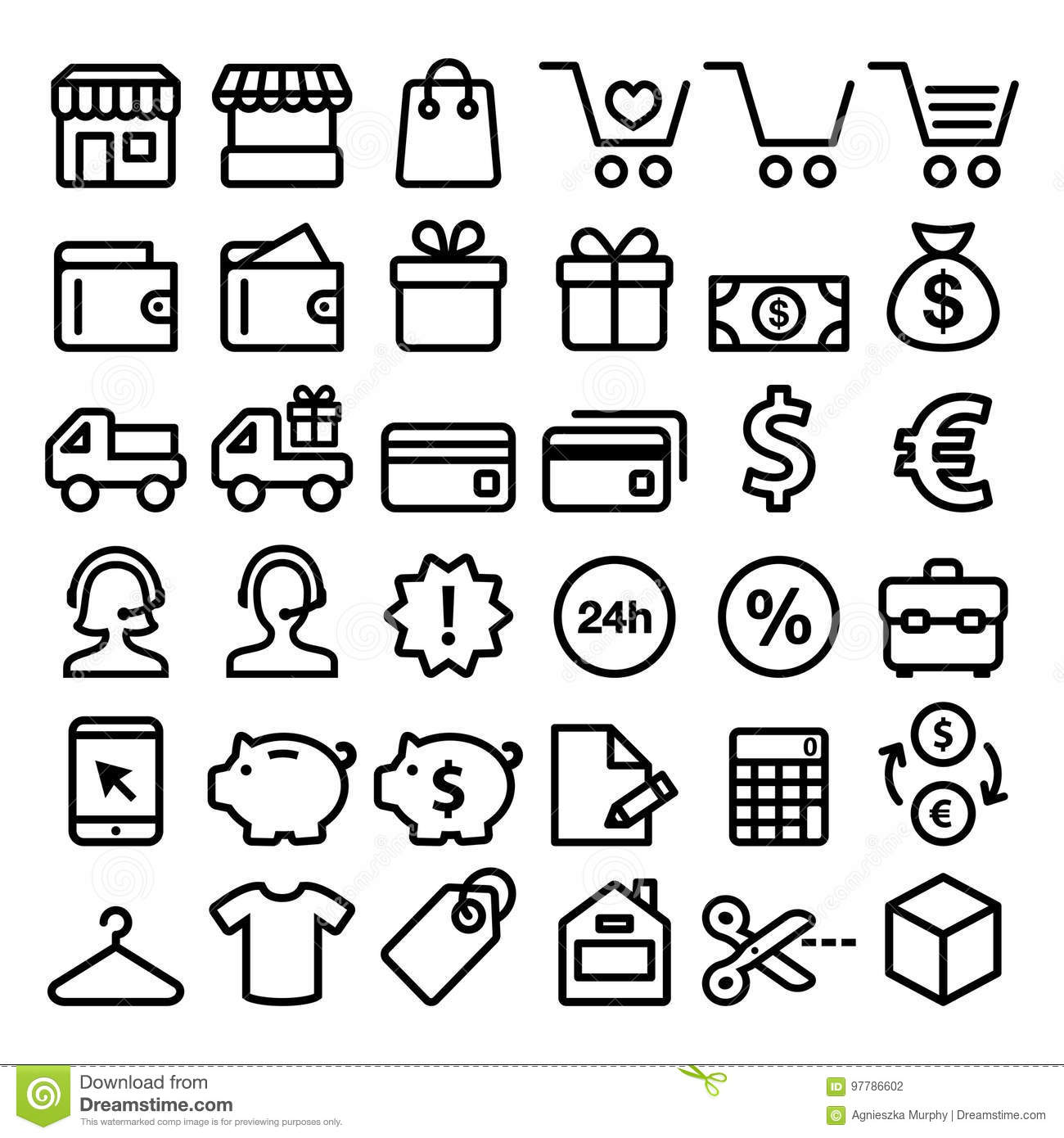 Online Pack Shopping Line Icons Set Buying Online Store Minimalist Symbols
