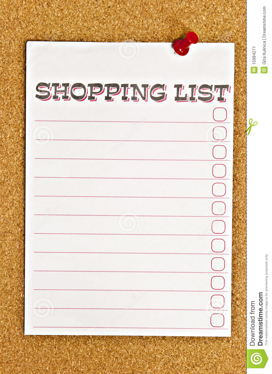 Coupon Shopping List Template – Shopping List Format