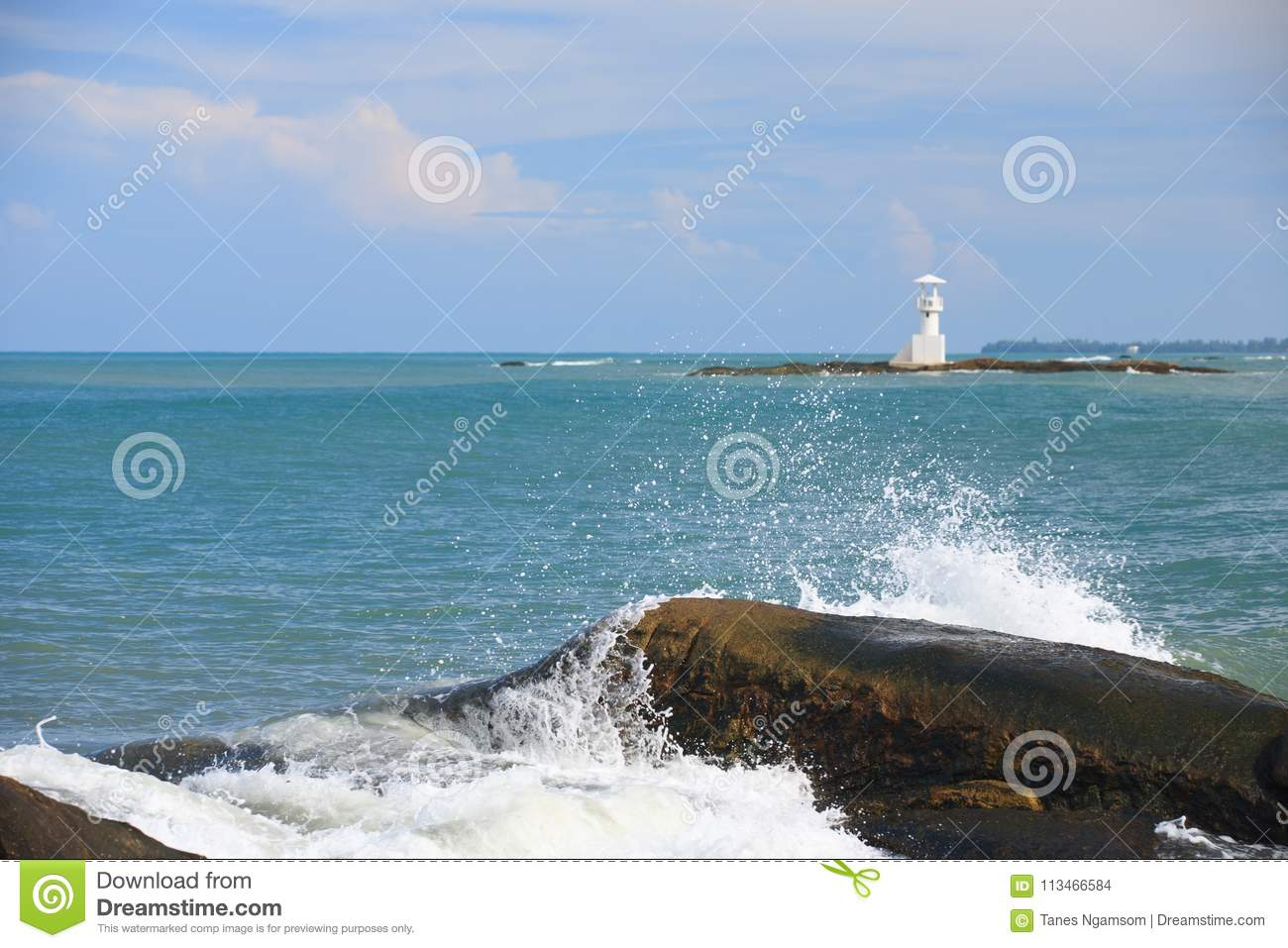 Lighthouse Background Shore Wave And Light Blue Sky In Summer Season White Lighthouse