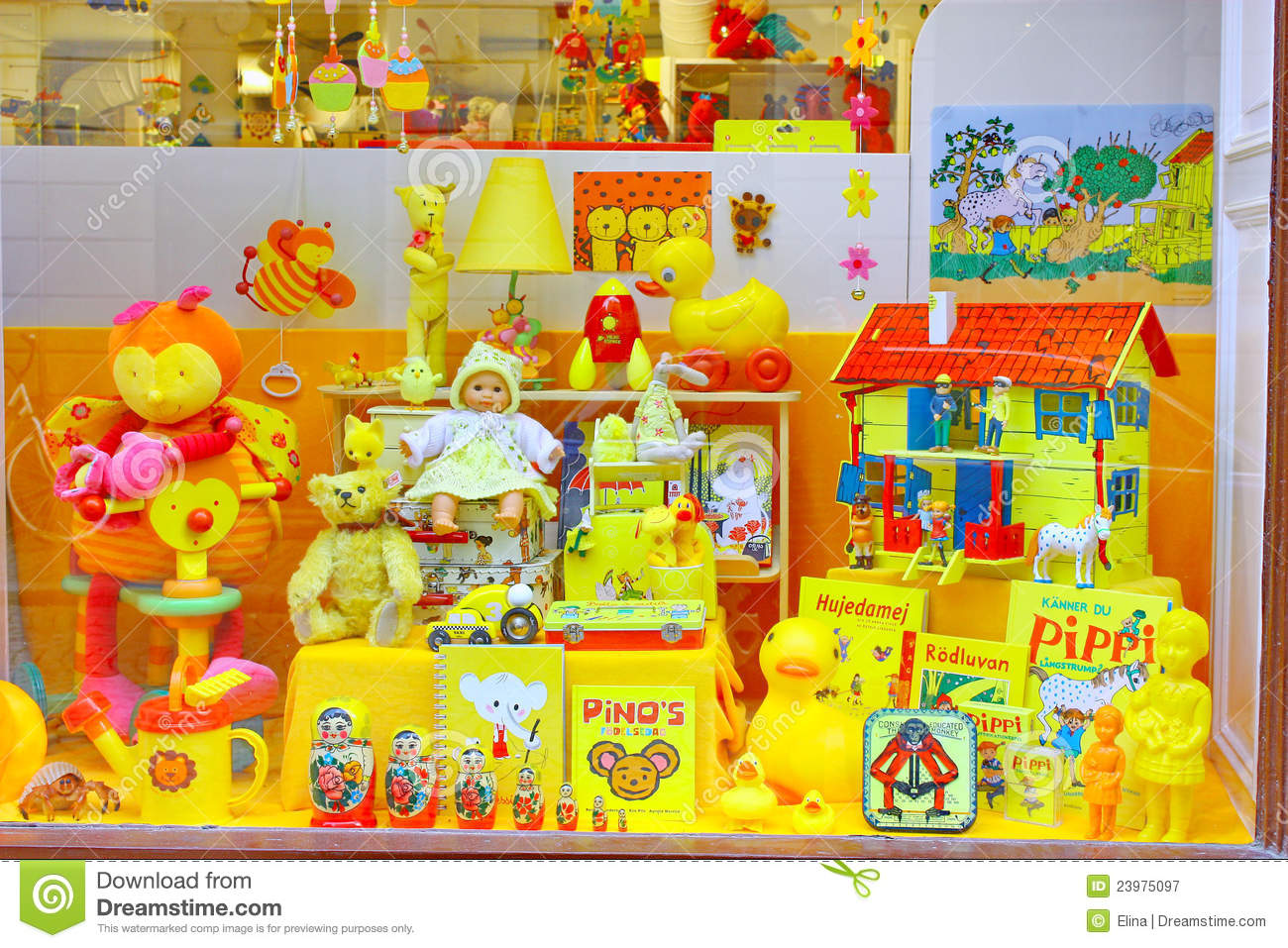 Yellow Shop Showcase Of The Yellow Toys Shop In Stockholm Editorial