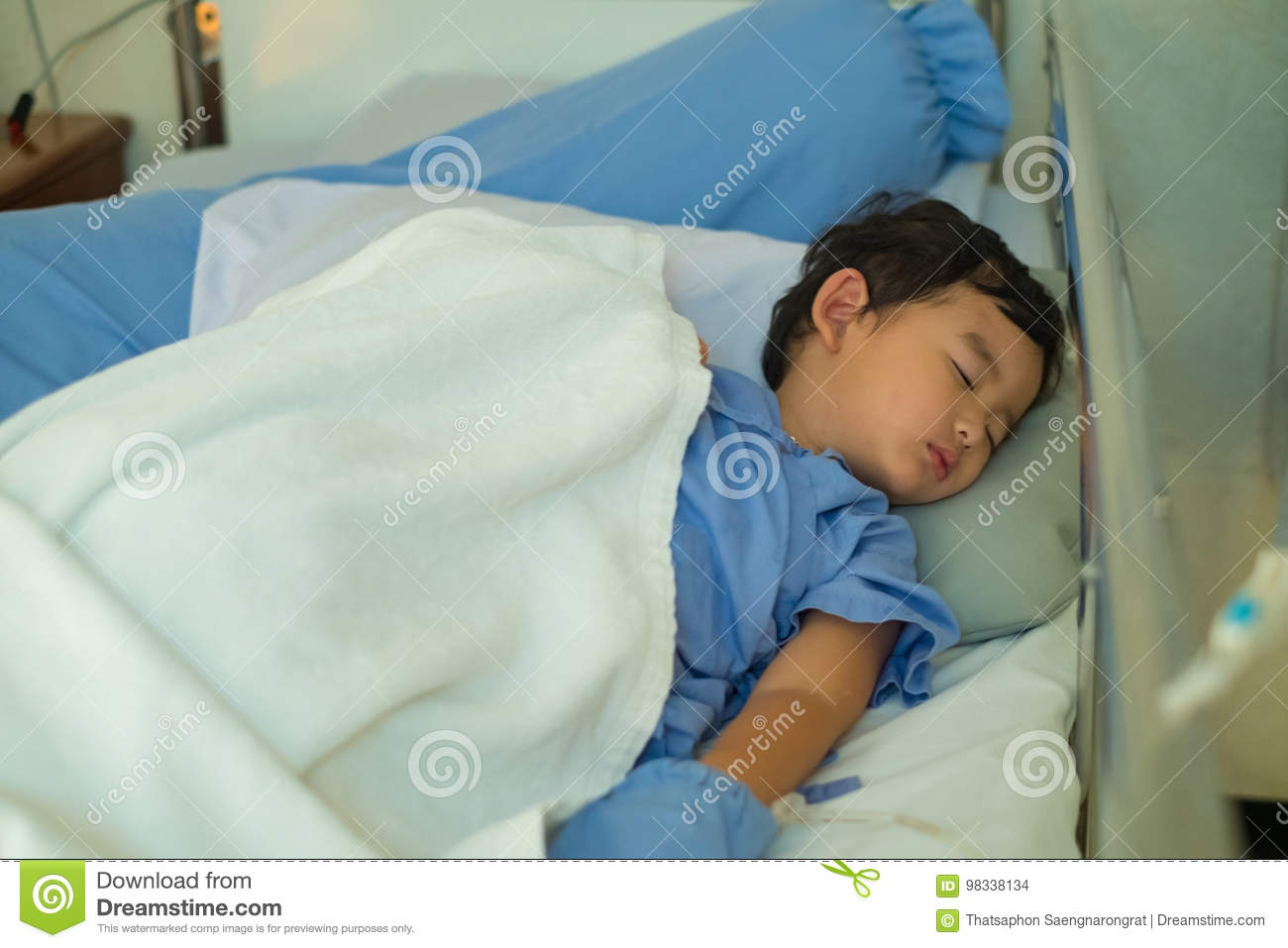 2 Kid Sick Asian Kid Boy 2 Years Old Lying Sick In Hospital Bed Stock