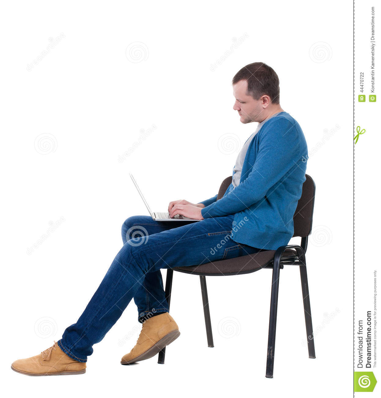 Background blue chair guy isolated laptop man over side sits
