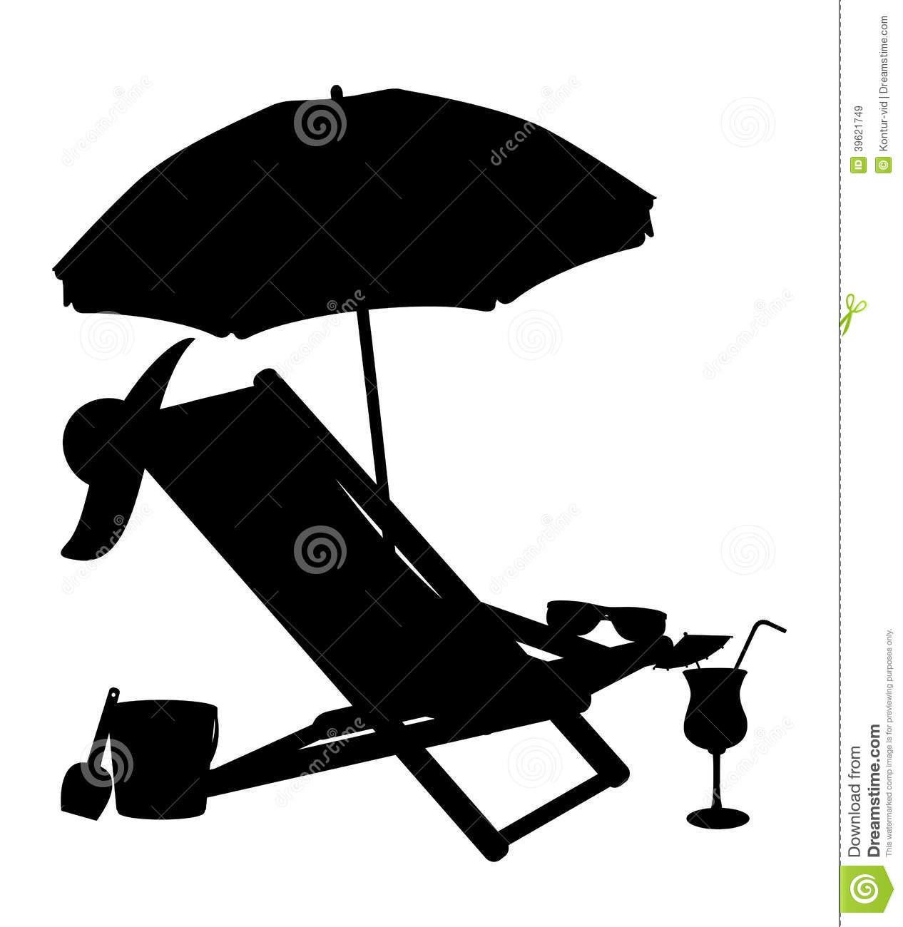 Silhouette of beach chairs and umbrellas vector il royalty free stock images