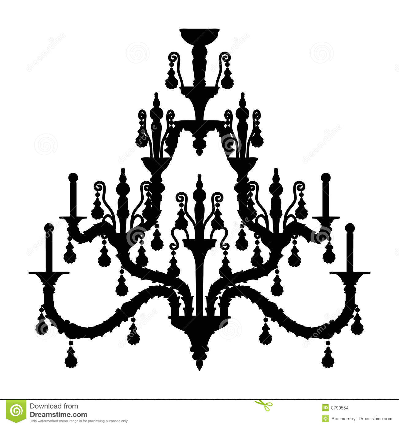Glass Lamp Vector Silhouette Of Luxury Chandelier Stock Vector - Image: 8790554