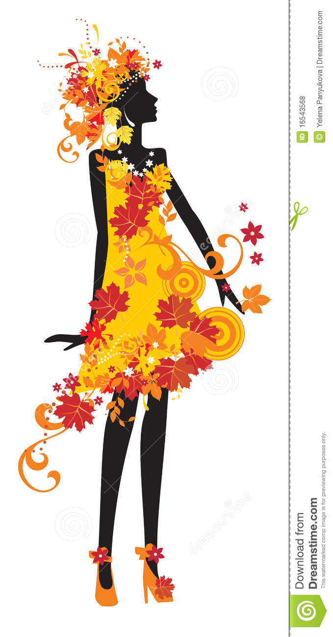 Single Girl Wallpaper Silhouette Of Woman With Autumn Leaves Royalty Free Stock