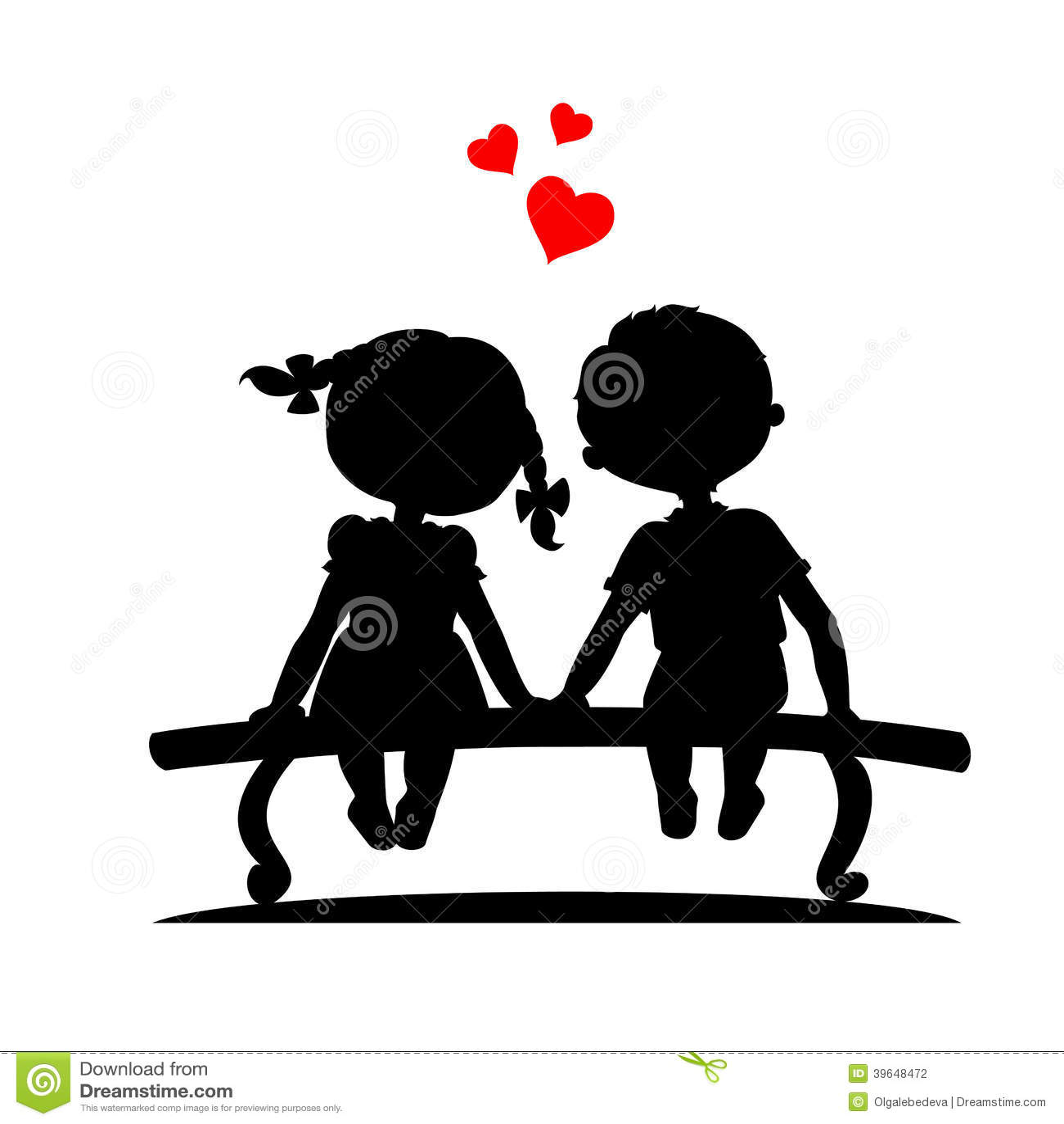 Girl And Boy Sitting On Banch Wallpaper Silhouetten Van Jongen En Meisje Vector Illustratie