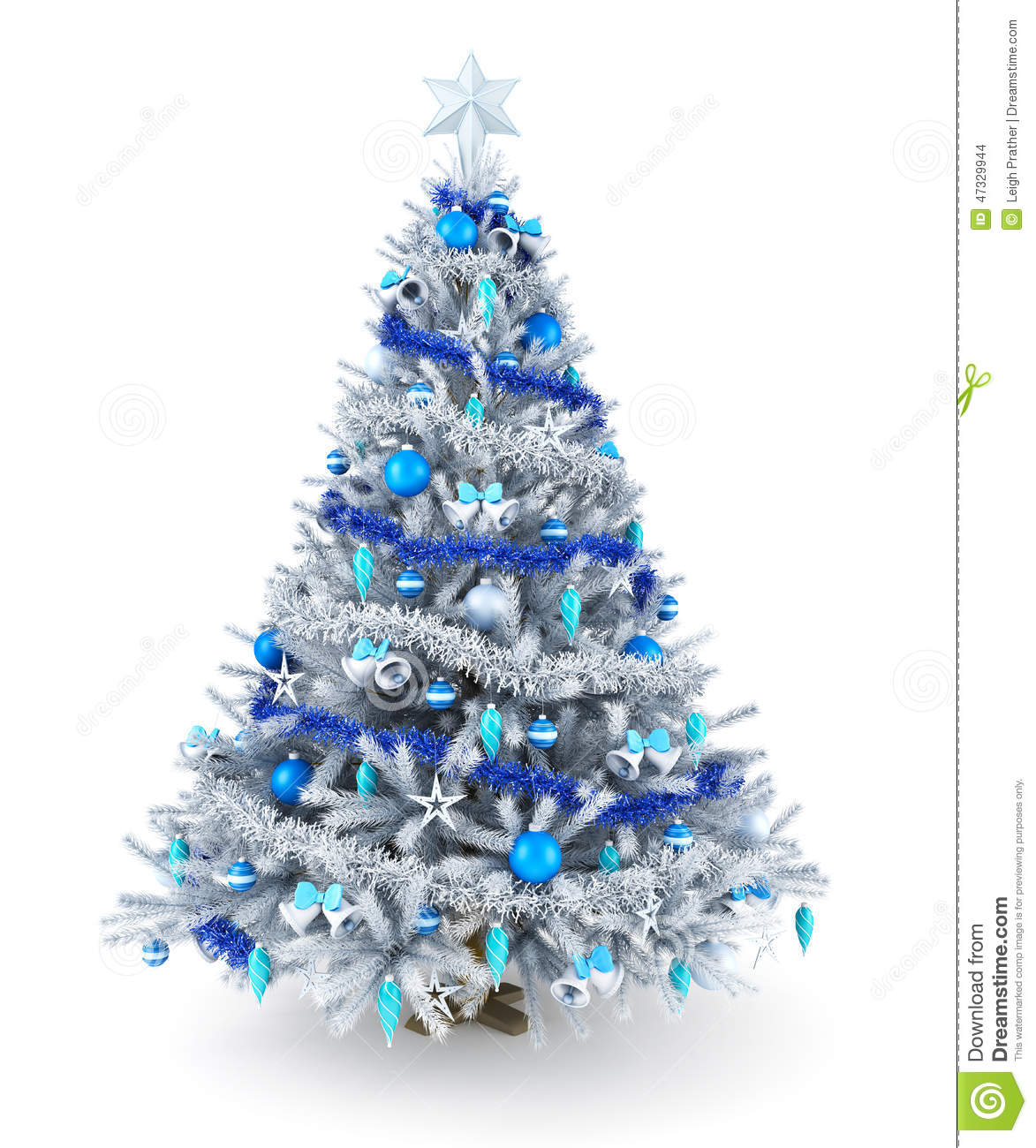 3d Wallpaper Decorating Ideas Silver And Blue Christmas Tree Stock Illustration