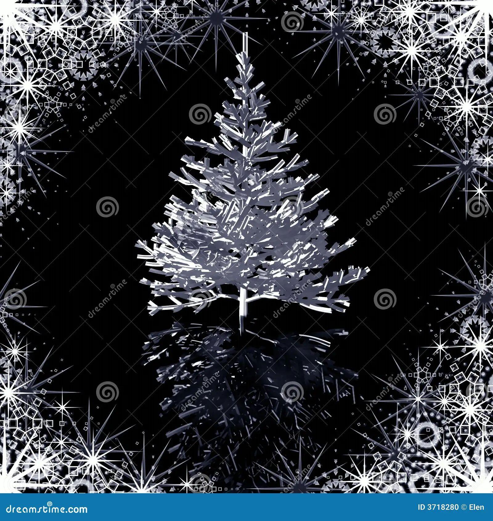 Silver christmas tree stock photo image 3718280