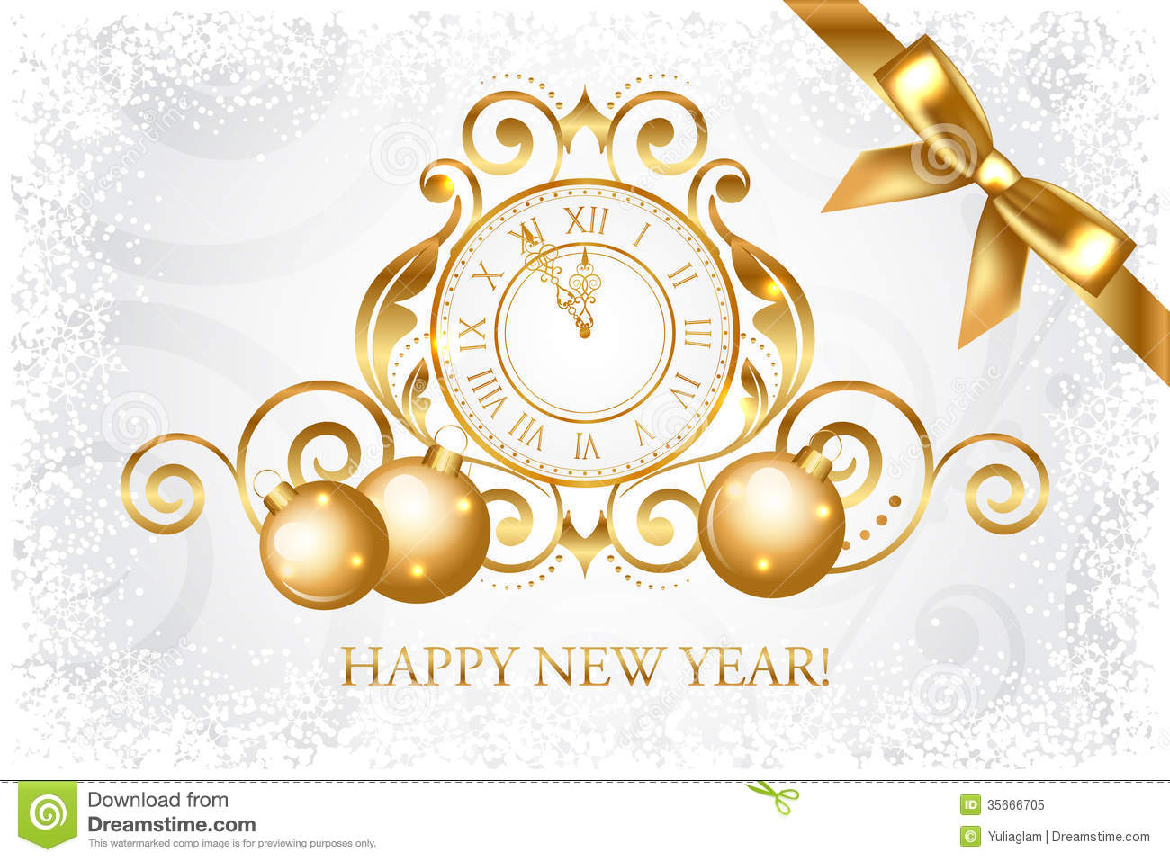 Carte Cadeau Wish Silver And Gold Happy New Year Card Stock Vector
