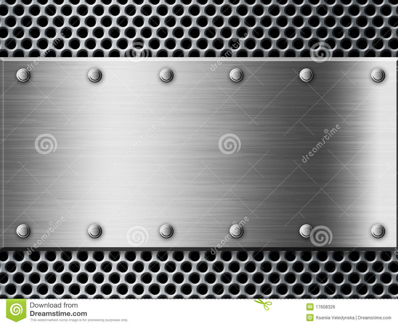 3d Wood Effect Wallpaper Silver Metal Plate Background Royalty Free Stock Image