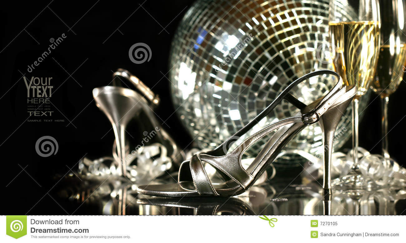 Happy Bday Wallpaper With Quotes Silver Party Shoes With Champagne Glasses Royalty Free