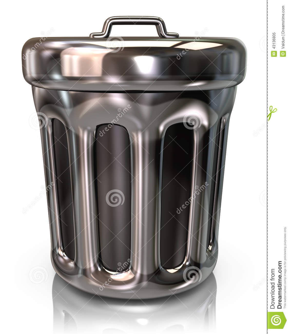 Silver Trash Cans Silver Trash Can Icon Stock Illustration Image 43136805