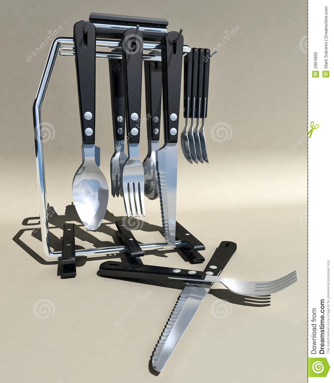 Standing Knife Flatware Silverware Stand Stock Image Image Of Knives Metal