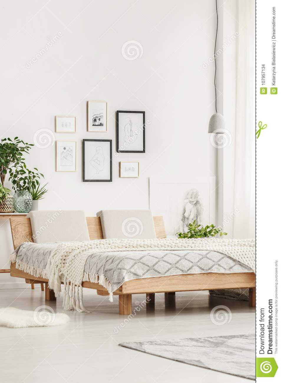 Simple Bed Simple Bed And Drawings Stock Photo Image Of Home Interior