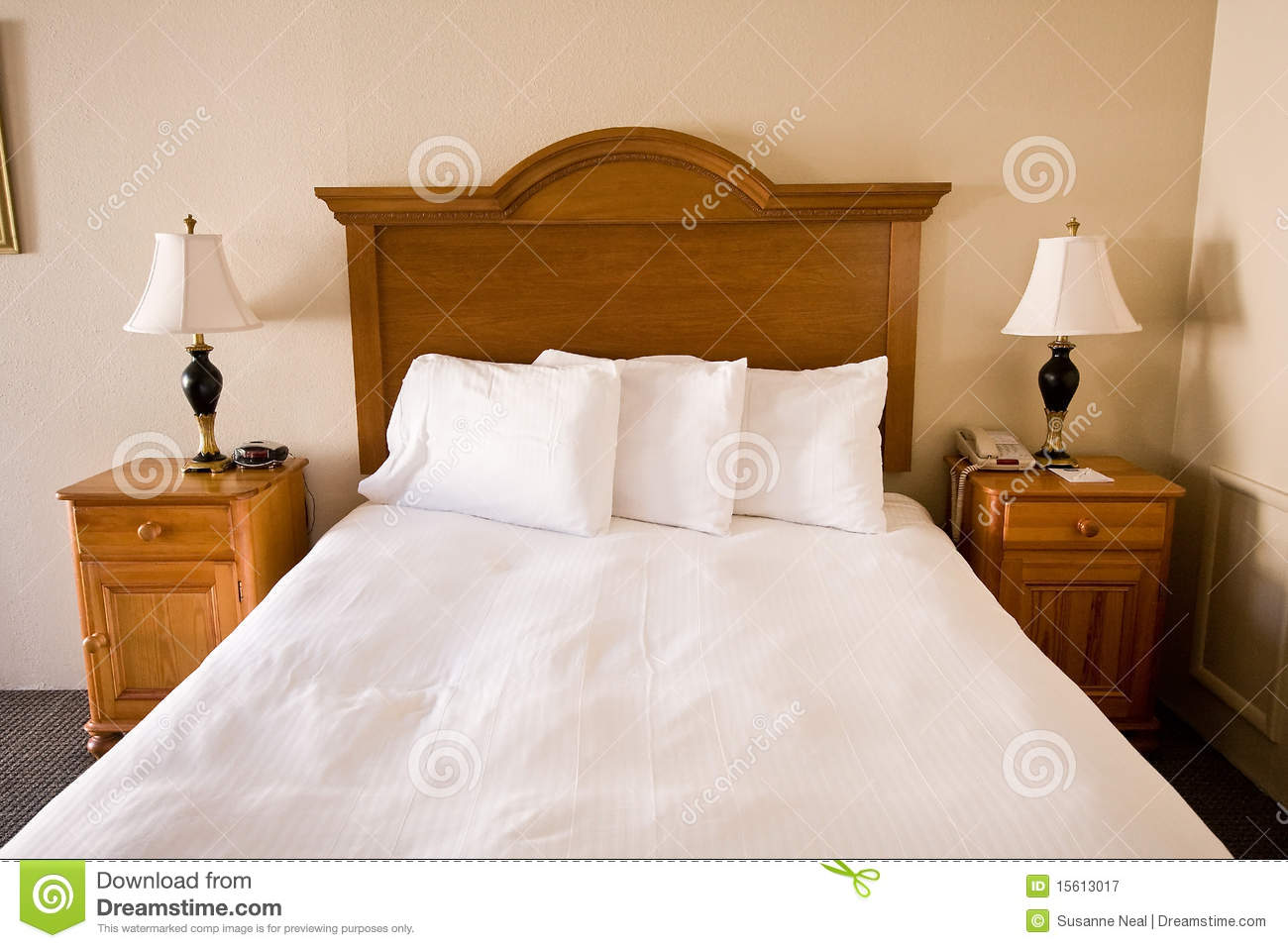 Simple Bed Simple Bed Headboard Nightstands Lamps Stock Image Image Of