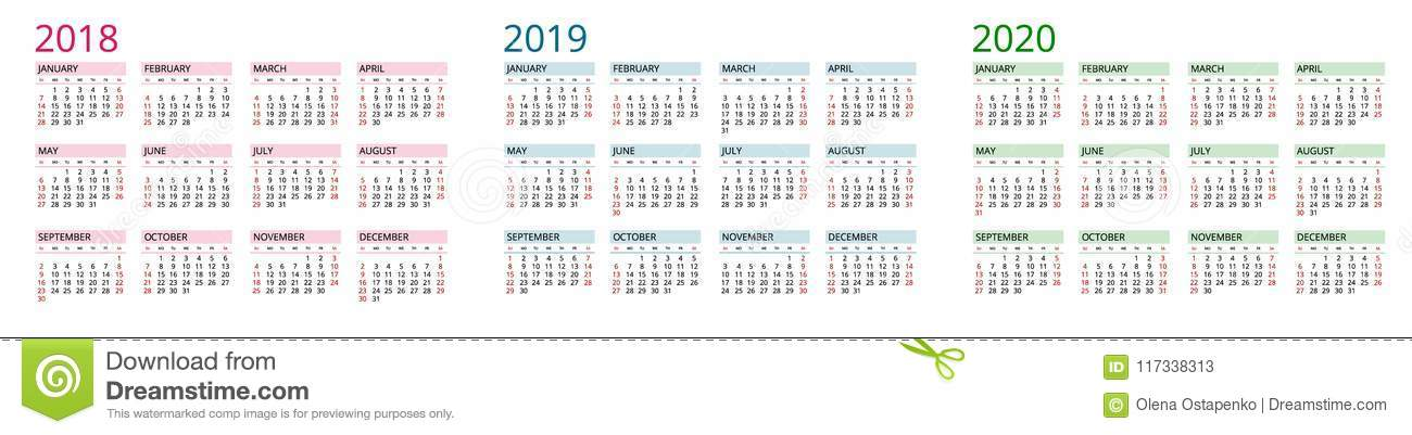 Simple Calendar Template For 2018, 2019 And 2020 Week Starts From