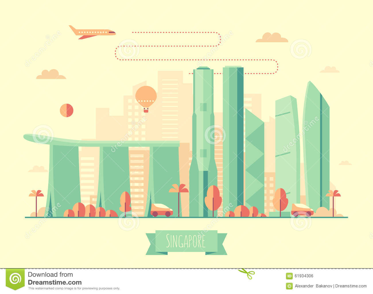 Architectual Illustrations Singapore Skyline Architecture Illustration Flat Stock