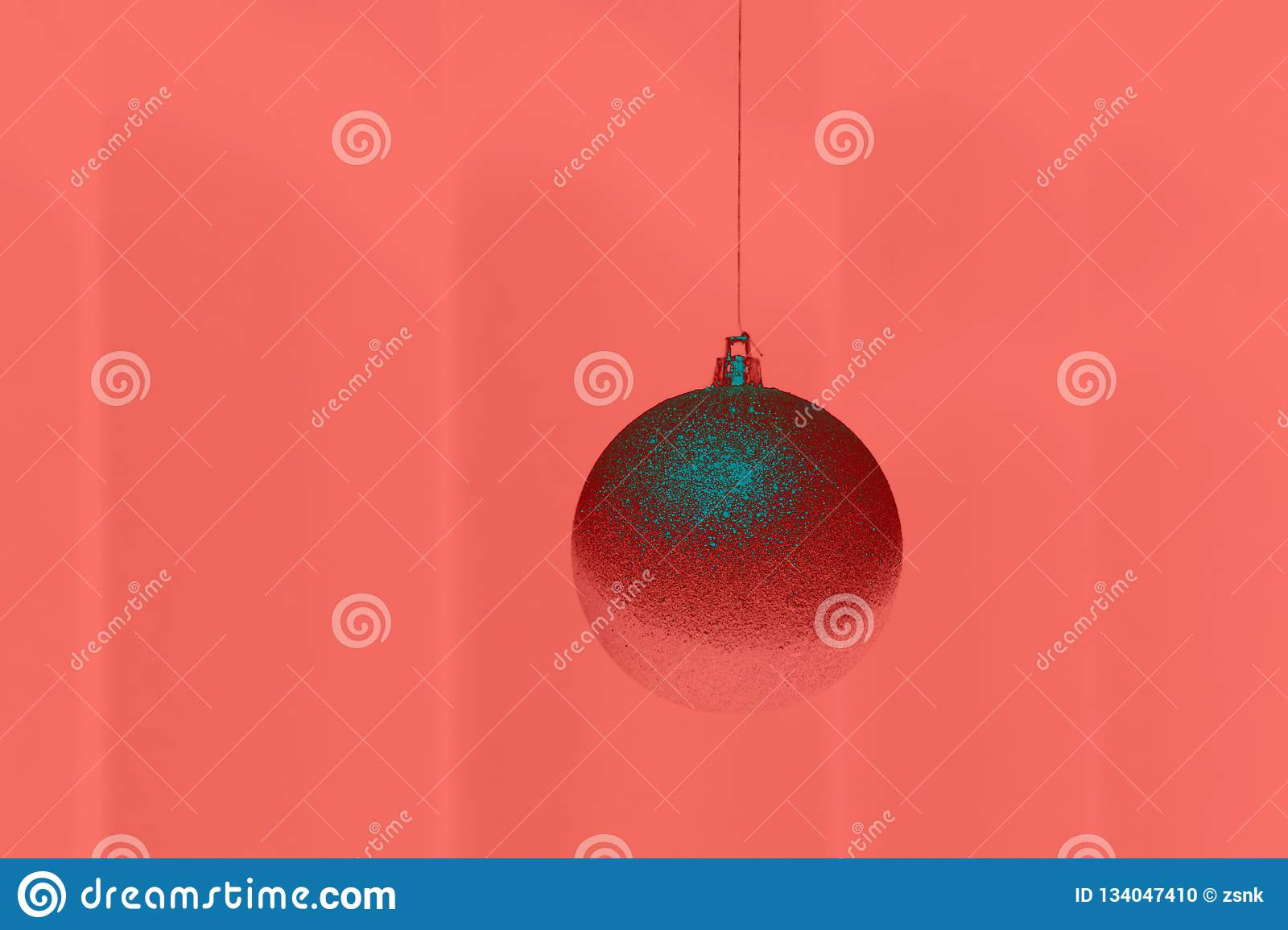 Pantone Christmas Ornaments Single Christmas Ball On Background In Colour Of The Year 2019
