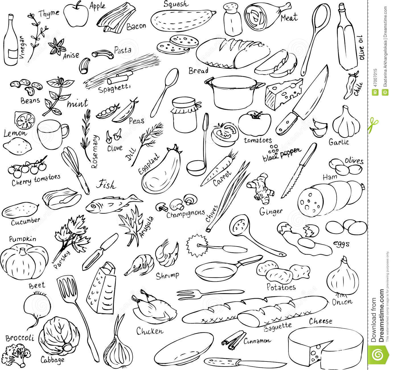 Baby Küchengeräte Sketch Of Foods Utensils And Kitchen Equipment Stock
