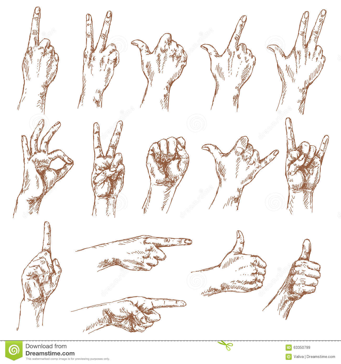 Küchengeräte Comic Sketch Of Hand Gestures Stock Vector Illustration Of