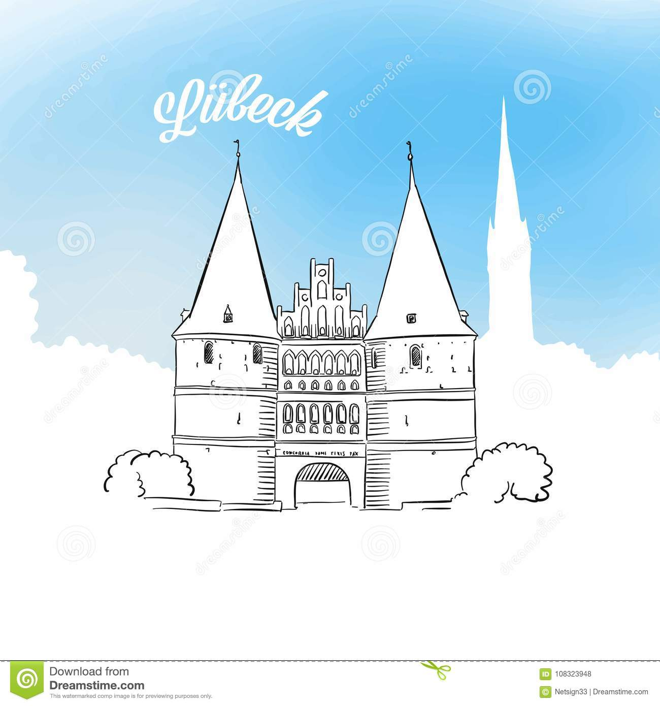 Lübeck Card Sketch Of Holstentor In Lubeck Stock Vector Illustration Of