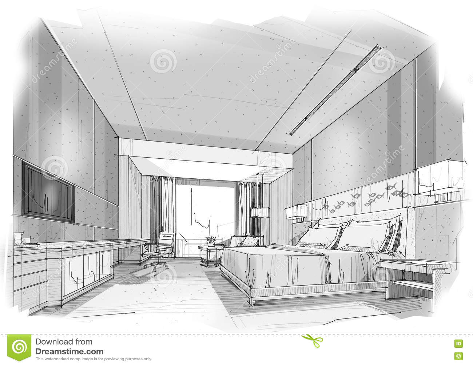 Bedroom drawing with color -  Bedroom Black Color Interior Perspective Sketch Download