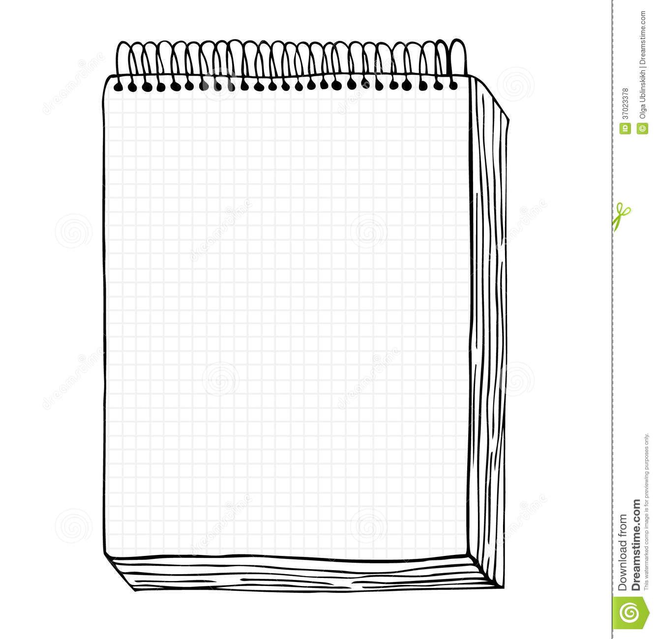 Feuille De Papier Lignée Sketch Of Notebook Vector Illustration With Hand Drawn