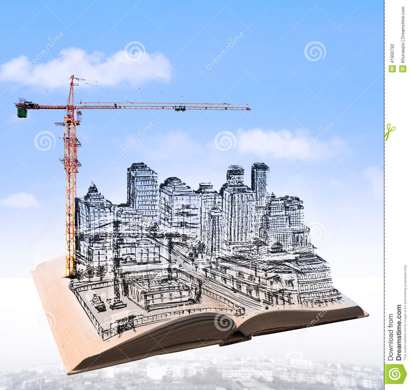 Construction Engineering Building And Sketching Of Building Construction On Flying Book Over Urban Scene