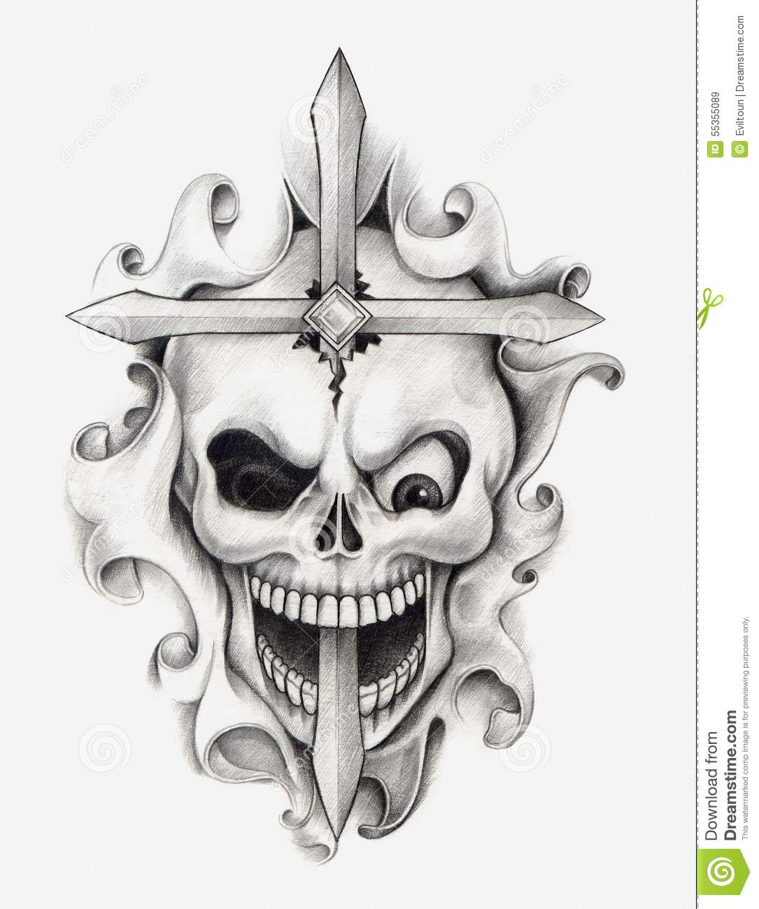 Girls And Lowrider Wallpaper Pic Skull Cross Art Tattoo Stock Illustration Image 55355089