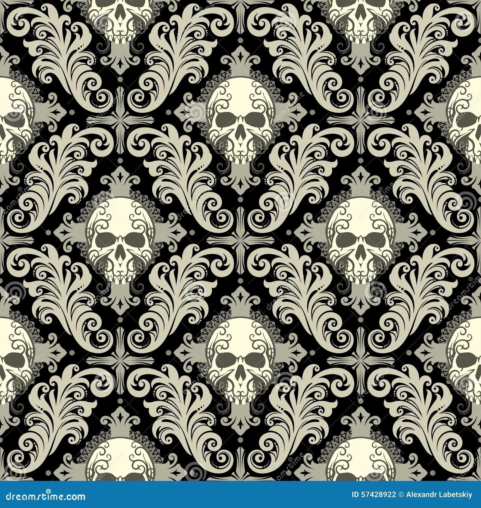 Wallpaper Black And White Damask Skull Damask Stock Vector Image 57428922